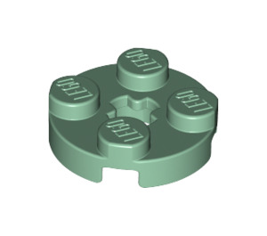 LEGO Sand Green Round Plate 2 x 2 with Axle Hole (with '+' Axle Hole) (4032)