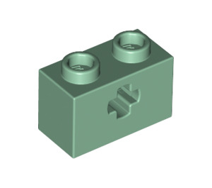 LEGO Sand Green Technic Brick 1 x 2 with Axle Hole (Old Style with '+' Opening) (31493)