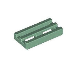 LEGO Sand Green Tile 1 x 2 Grille (with Bottom Groove) (2412)