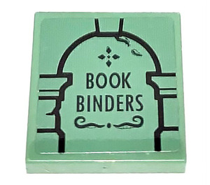 LEGO Sand Green Tile 2 x 2 with BOOK BINDERS Sticker with Groove
