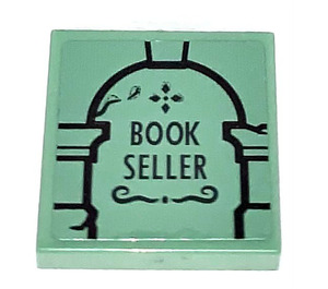 LEGO Sand Green Tile 2 x 2 with BOOK SELLER Sticker with Groove