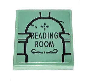 LEGO Sand Green Tile 2 x 2 with READING ROOM Sticker with Groove