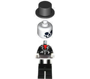 LEGO Skeleton with Leather Jacket and Top Hat Minifigure