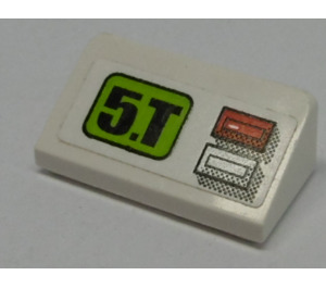 LEGO Slope 1 x 2 (31°) with '5.T', Red Light and Silver Button Sticker (85984)