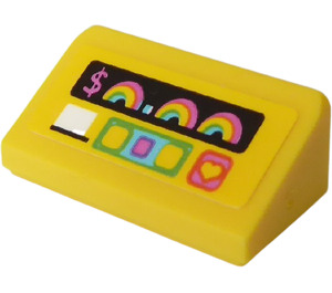LEGO Slope 1 x 2 (31°) with '$', Rainbow, Heart and Buttons on a Yellow Background Sticker (85984)