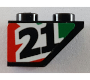 LEGO Slope 1 x 2 (45°) Inverted with '21' (Left) Sticker (3665)