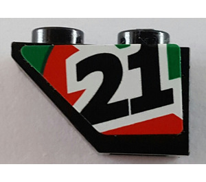 LEGO Slope 1 x 2 (45°) Inverted with '21' (Right) Sticker (3665)