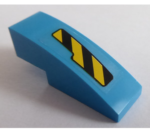 LEGO Slope 1 x 3 Curved with Black and Yellow Danger Stripes Cutout Pattern Left Sticker (50950)