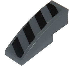 LEGO Slope 1 x 3 Curved with Black Danger Stripes Sticker (50950)