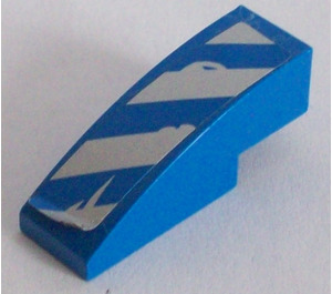 LEGO Slope 1 x 3 Curved with Blue and Silver Danger Stripes Sticker (50950)