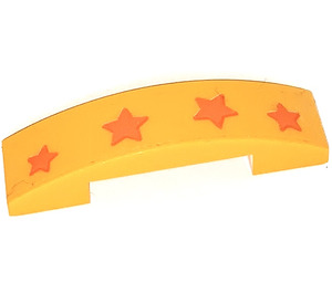 LEGO Slope 1 x 4 Curved Double with 4 Stars Sticker (93273)