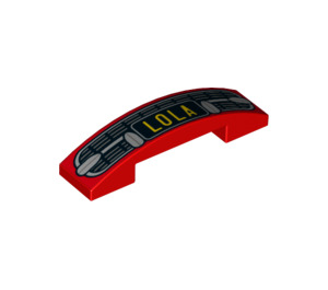 LEGO Slope 1 x 4 Curved Double with Car Grille and LOLA Licence Plate (29838 / 93273)