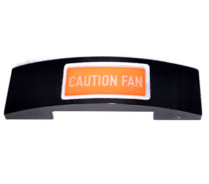 LEGO Slope 1 x 4 Curved Double with Caution Fan Sticker (93273)