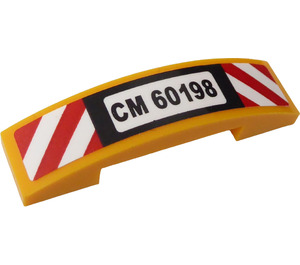LEGO Slope 1 x 4 Curved Double with 'CM60198', Red and White Danger Stripes Sticker (93273)