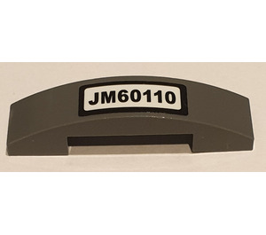 LEGO Slope 1 x 4 Curved Double with 'JM60110' License Plate Sticker (93273)