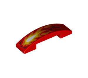 LEGO Slope 1 x 4 Curved Double with Orange and Red Flame (19958 / 93273)