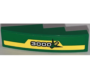 LEGO Slope 1 x 4 Curved with 3000 and Corn Logo on Yellow Stripe Sticker (11153)