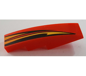LEGO Slope 1 x 4 Curved with Black and Orange Flame (Left) Sticker (11153)