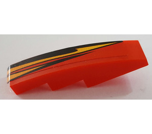 LEGO Slope 1 x 4 Curved with Black and Orange Flame (Right) Sticker (11153)