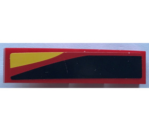 LEGO Slope 1 x 4 Curved with Black, Red and Yellow Stripes - Left Sticker (11153)