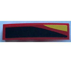LEGO Slope 1 x 4 Curved with Black, Red and Yellow Stripes - Right Sticker (11153)