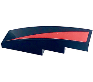LEGO Slope 1 x 4 Curved with Black/Red diagonal part right Sticker (11153)