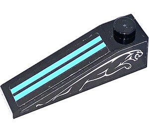 LEGO Slope 1 x 4 x 1 (18°) with Azur Stripes and Jaguar on both sides Sticker (60477)