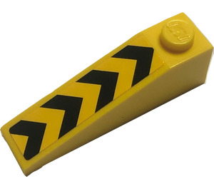 LEGO Slope 1 x 4 x 1 (18°) with Black Chevrons Sticker (60477)