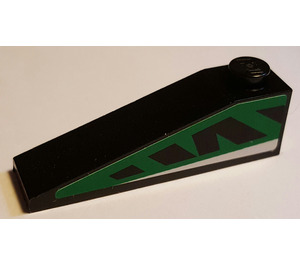 LEGO Slope 1 x 4 x 1 (18°) with Green and Black Left Sticker (60477)