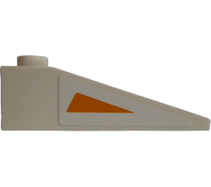 LEGO Slope 1 x 4 x 1 (18°) with Orange Triangle (Right) Sticker (60477)
