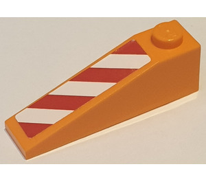 LEGO Slope 1 x 4 x 1 (18°) with Red and White Danger Stripes Left Sticker (60477)