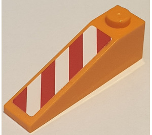 LEGO Slope 1 x 4 x 1 (18°) with Red and White Danger Stripes Right Sticker (60477)