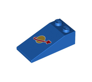 LEGO Slope 18° 4 x 2 with Classic Space Logo Decoration (17982 / 30363 / 47699)
