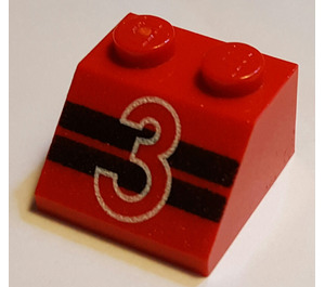 """LEGO Slope 45° 2 x 2 with """"3"""" and Black Stripes (3039)"""