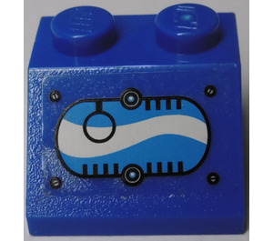 LEGO Slope 45° 2 x 2 with Black Ring in Oval with Blue and White Swirls (Left) Sticker (3039)