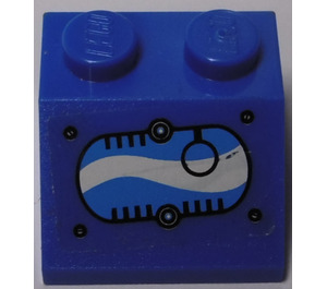 LEGO Slope 45° 2 x 2 with Black Ring in Oval with Blue and White Swirls (Right) Sticker (3039)