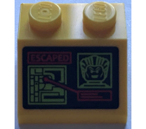 """LEGO Slope 45° 2 x 2 with """"ESCAPED"""", Joker Face and Computer Screen Sticker (3039)"""