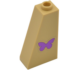 LEGO Slope 75 2 x 1 x 3 with Purple Butterfly Sticker (4460)