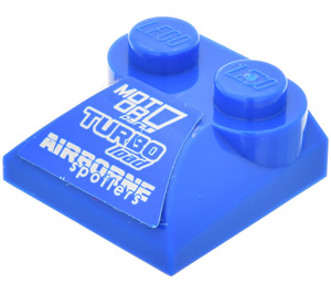 LEGO Slope Curved 2 x 2 with 'MOT OR', 'TURBO load' and 'AIRBORNE spoilers' Sticker from Set 8126 with Curved End (47457)