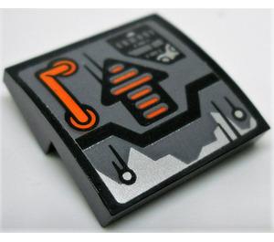 LEGO Slope Curved 2 x 2 x 0.66 with orange handle and black/orange striped arrow Sticker (15068)