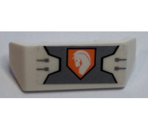 LEGO Spoiler with Handle with Horse Head on Orange Hexagonal Shield Pattern Sticker (67120)
