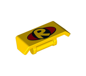 LEGO Spoiler with Handle with 'R', Red Circle (26094 / 98834)