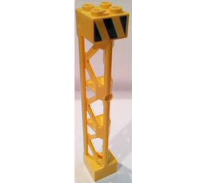 LEGO Support 2 x 2 x 10 Girder Triangular Vertical with Hazard Stripes Sticker (95347)