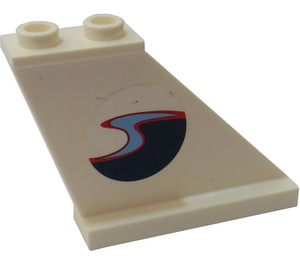 LEGO Tail 4 x 1 x 3 with Wavy Ocean Boat (Left) Sticker (2340)
