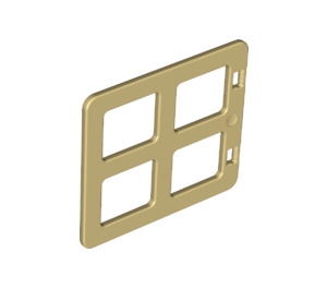 LEGO Tan Duplo Window 4 x 3 with Bars with Same Sized Panes (90265)