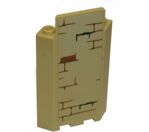 LEGO Tan Panel Wall 3 x 3 x 6 Corner with brown bricks and moss Sticker without Bottom Indentations
