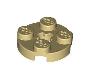 LEGO Tan Plate 2 x 2 Round with Axle Hole (with 'X' Axle Hole) (4032)