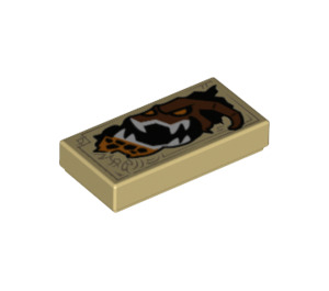 LEGO Tan Tile 1 x 2 with Monster Head with Groove (24768)