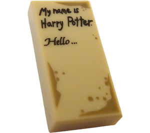 LEGO Tan Tile 1 x 2 with 'My name is Harry Potter' and 'Hello' with Groove
