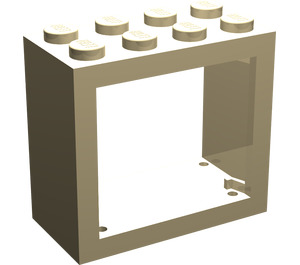 LEGO Tan Window 2 x 4 x 3 with Rounded Holes (4132)